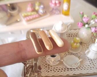 3 coffee chocolate eclairs vanilla Fimo MiniatureLot