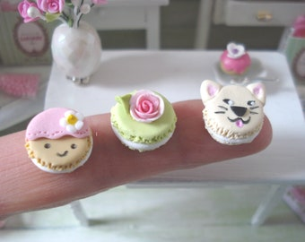 Dollhouse miniature 1 set of 3 Pinback buttons 1/12 th scale