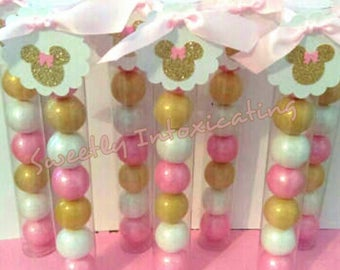 Pink Gold Minnie Mouse Gumball Favors Baby Showers 1st Birthdays And Theme