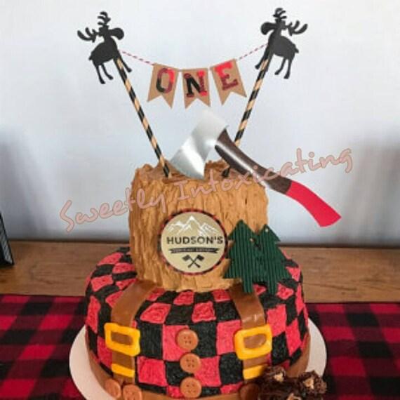 Moose Lumberjack One Cake Bunting Outdoor Camping Etsy