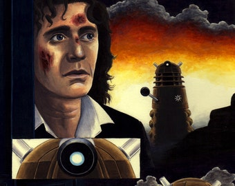 DOCTOR WHO ART 8th Doctor Paul McGann & Dalek 'Extermin8' Original Gouache Painting