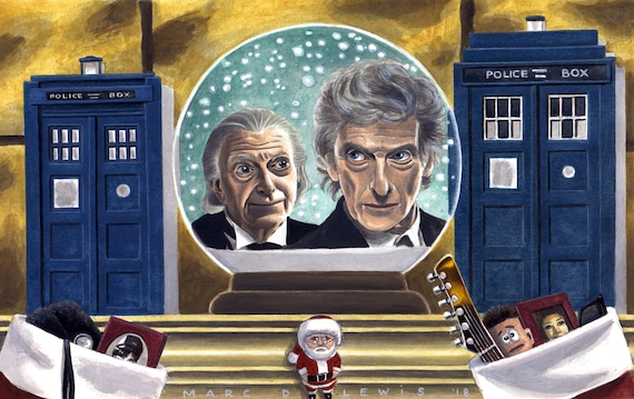 Twice Upon A Christmas Doctor Who.Doctor Who Art Twice Upon A Time Original Acrylic Painting Feat 12th Doctor Peter Capaldi 1st Doctor David Bradley