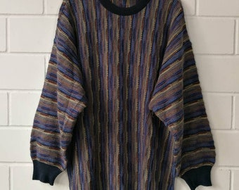 9901ff326b Vintage crazy pattern Pullover Jumper Sweater Knit Wear Cosby 80s 90s Size L