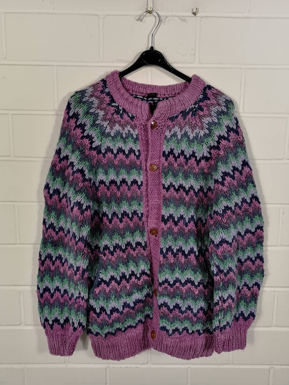 Vintage Women Equador crazy pattern Wool Cardigan