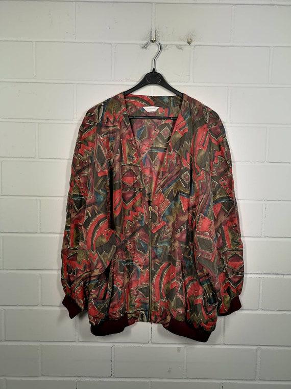 Vintage Women Size XL crazy pattern Silk Jacket Si