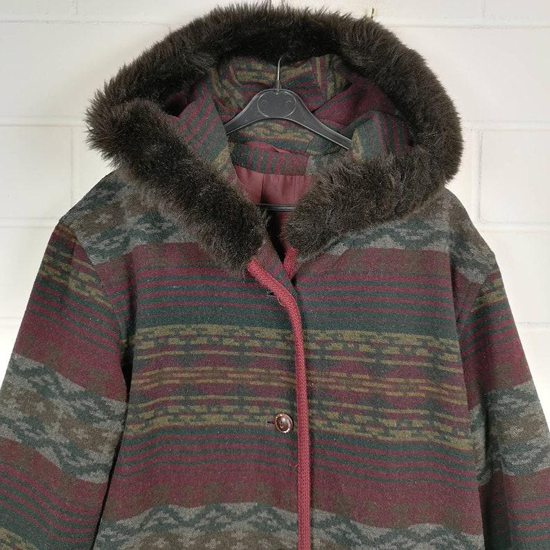 Vintage Women Size S crazy pattern Wool Jacket wool jacket jacket coat transition hoodie 80s 90s