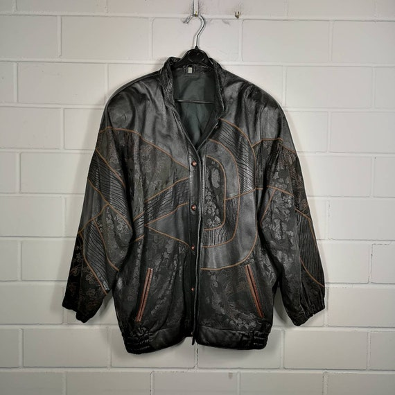 Vintage Women Size M-XL crazy pattern Leather Jack