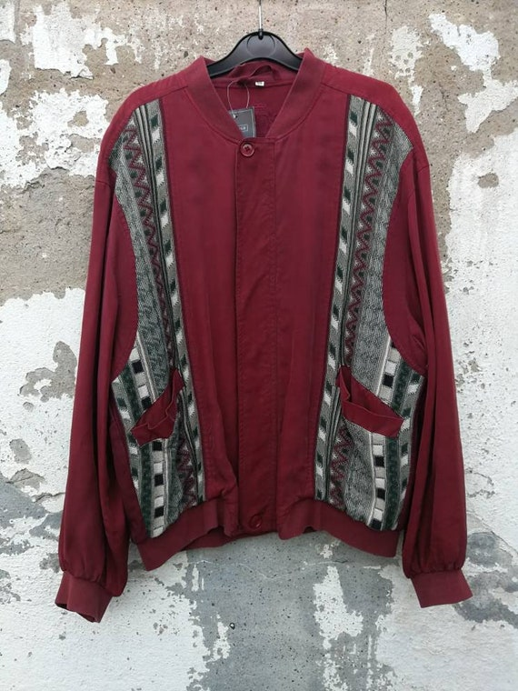 Vintage crazy pattern Silk Jacket Bomber Silk Jack
