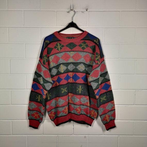 Vintage crazy pattern sweater jumper sweater knit wear Cosby 80s 90s Size XL