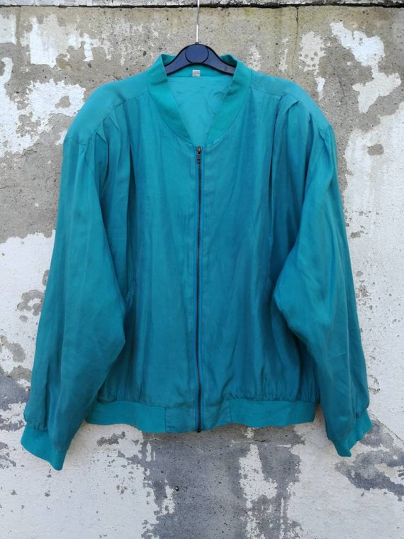 Vintage Women Silk Bomber Jacket Blouson Silk Jack