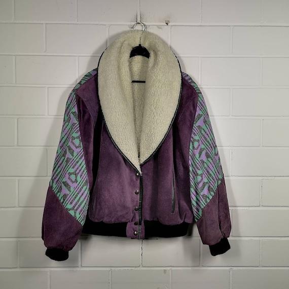 Vintage Women Size L/XL crazy pattern Navajo Suede