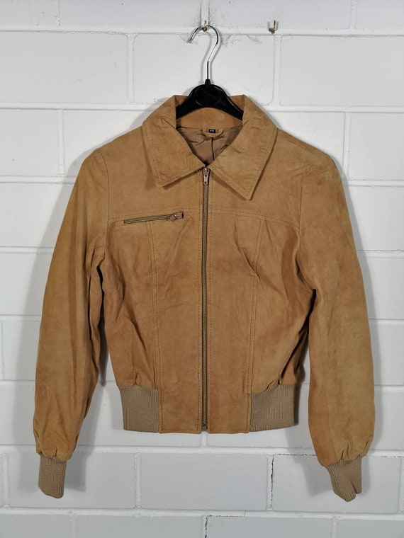 Vintage Women Suede Leather Jacket Suede Leather J