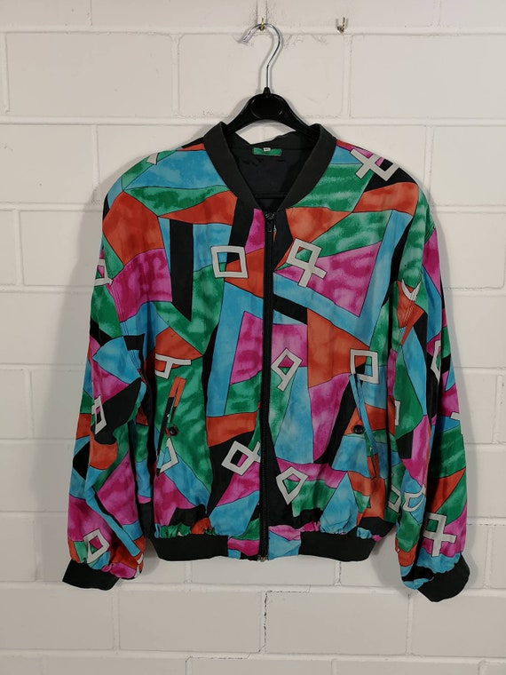 Vintage crazy pattern Silk Bomber Jacket Jacket Bl