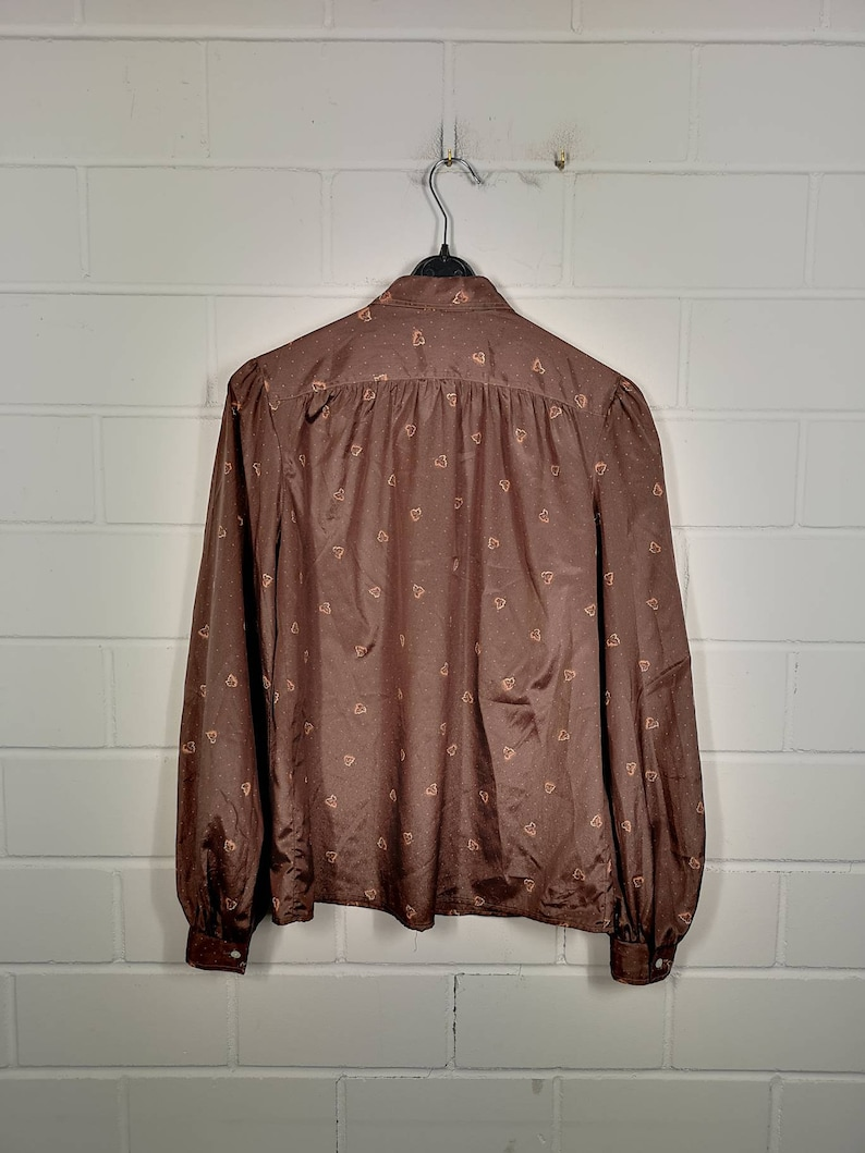 Vintage Size SMeter Blouse Blouse Long Sleeves Leafs Leaves 80s 90s