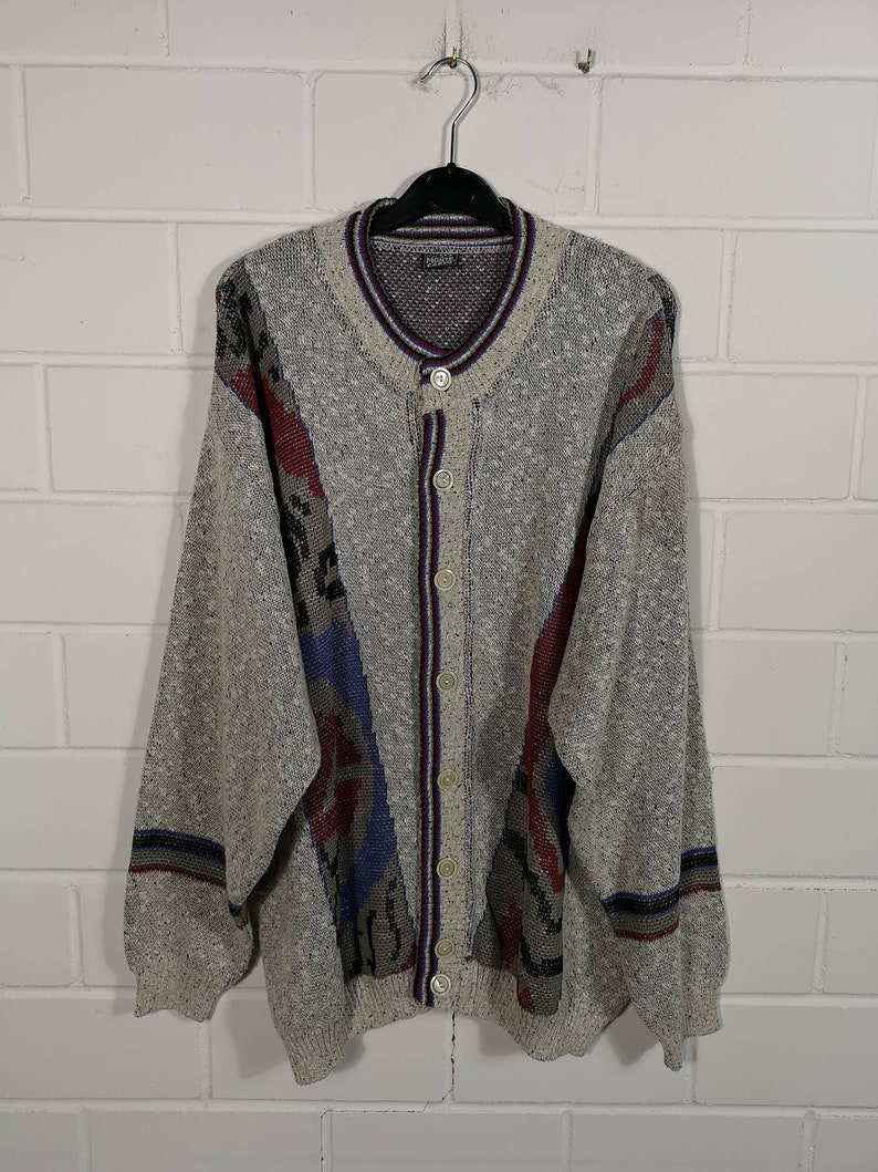 Vintage crazy pattern Cardigan Jacket Cardigan 80s 90s Size XL