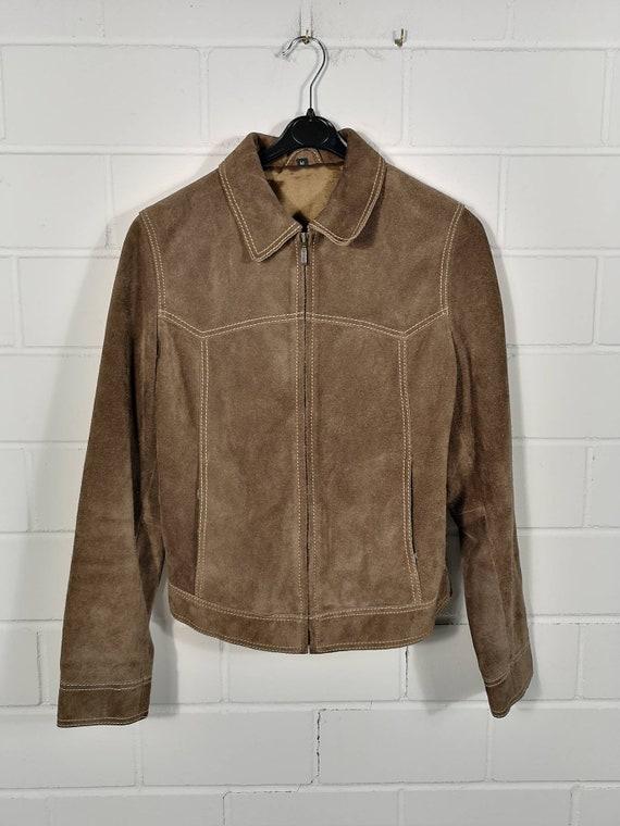 Vintage Women Suede Leather Jacket Suede Leather J