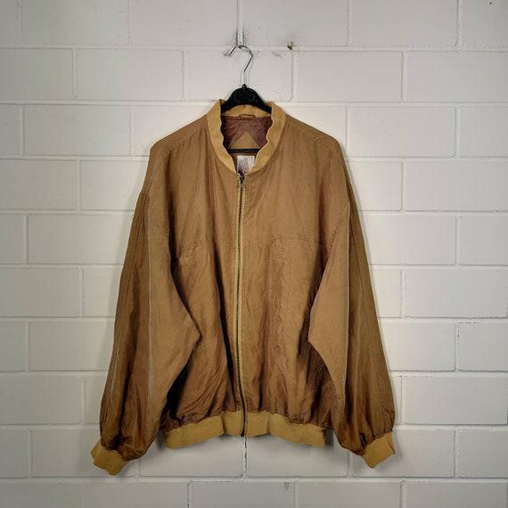 Vintage Size XL Silk Bomber Jacket Silk Jacket Blo