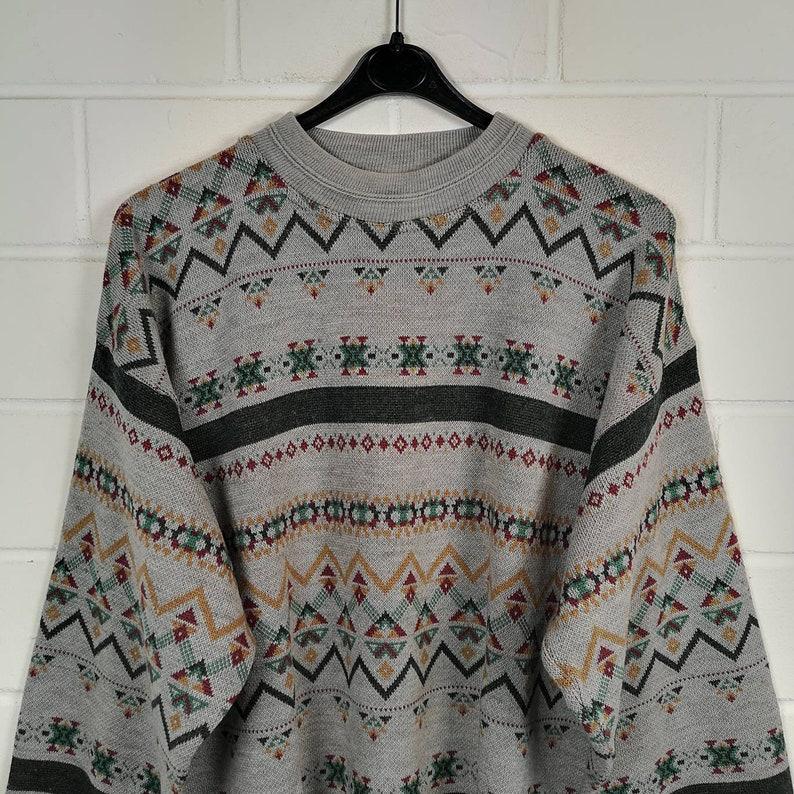 Vintage Size M crazy pattern Sweater Sweater Sweater Cosby Knit Wear 80s 90s
