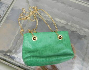38e9fc9f5a8d Desmo Green Moc Croc Leather Crossbody Hnadbag Made in Italy green leather  handbags handbags
