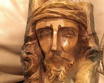 Jesus Christ hand carved tree trunk sculpture ; religous decoration for home; live edge; wood scuplture/easter