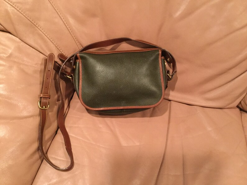 ab4f8e42cd Vintage Green Coach Pebbled Leather Crossbody Handbag Made in