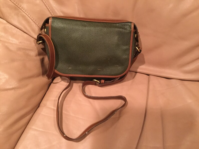 6a252d9b4f1e Vintage Green Coach Pebbled Leather Crossbody Handbag Made in