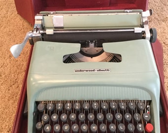 Vintage OLIVETTI Lettera Barcelona, Spain; Blue Typewriter in Original Carrying Case
