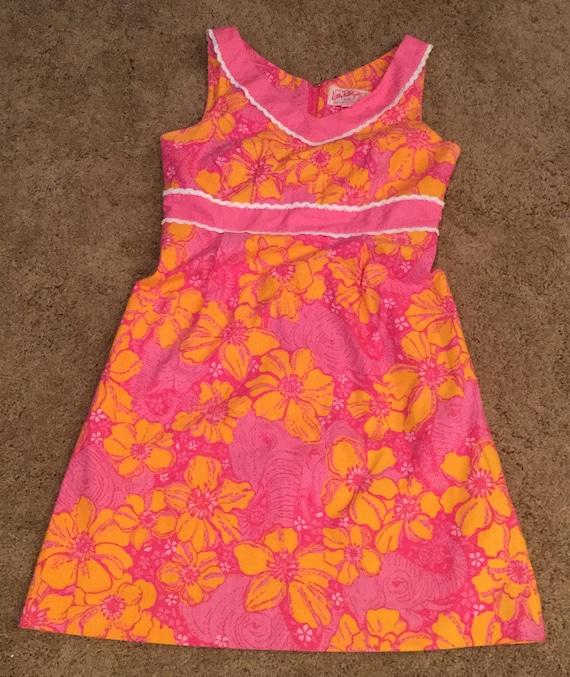 Lilly Pulitzer Originals HTF Dress Orange Pink Ele