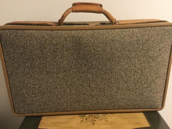 Vintage suitcase stripe tan retro decor farmhouse retro wedding storage stacking industrial photo repurpose luggage