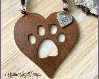 Custom Rainbow Bridge paw print heart ornament, Rainbow Bridge pet sympathy gift, heart paw print memorial gift, paw print loss of pets gift