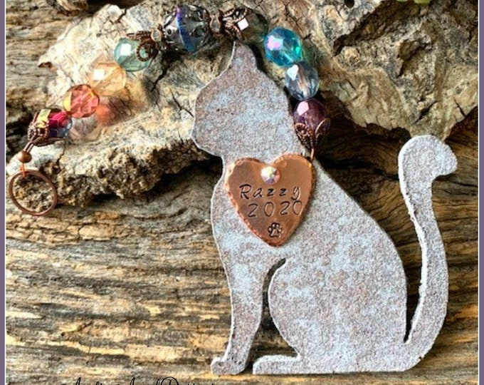 Featured listing image: Cat Ornament, Cat Memorial, Cat Sympathy Gift, Cat Remembrance, Rainbow Bridge Cat Sympathy Gift, Loss of Cat, Death of Cat, Cat Mom Gift