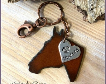 Custom horse key chain, rusted iron horse head purse clip, personalized horse memorial gift, horse sympathy key chain, horse head key chain