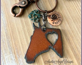 Personalized horse key chain, rusted iron horse purse clip, custom horse memorial, horse sympathy, horse head key ring, horse lover gift