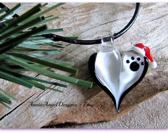 Santa Paws Necklace, Paw Print Santa Hat Necklace, Paw Print Christmas Jewelry, Christmas Paw Print Necklace, Holiday Paws Dog Lover Gift