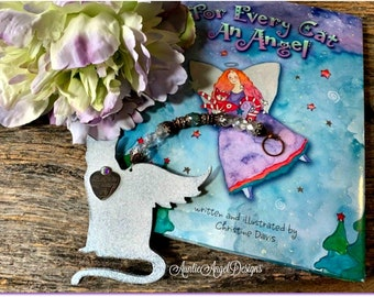 For Every Cat an Angel, cat sympathy book and ornament, cat angel memorial, kitty angel combo remembrance gift, loss of a cat, angel cat