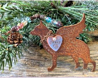 Rainbow Bridge German Shepherd Angel Ornament, German Shepherd Memorial, German Shepherd ornament, Custom German Shepherd Gift, Death of GSD