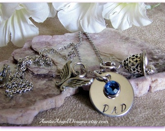 Stamped angel sympathy necklace, angel gets its wings, angel dad, angel mother, angel sister, angel brother, angel husband, angel memorial