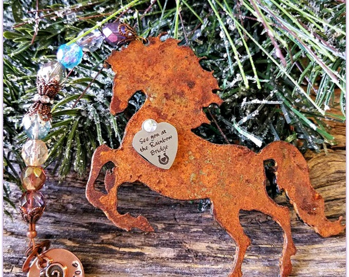 Featured listing image: Rainbow Bridge Horse Ornament, Personalized Horse Sympathy, Custom Horse Memorial, Loss of Horse, Death of Horse, Horse Tribute Condolence