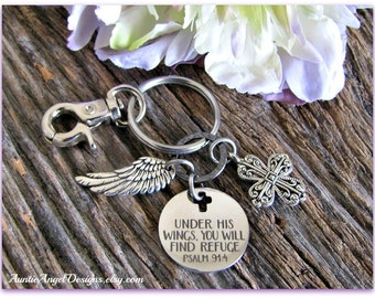 Psalm 91:4 Keychain, Under God's Wings, Scripture Gift, Christian Motivational Gift, Under His Wings Bible Verse, Christian Sympathy Gift
