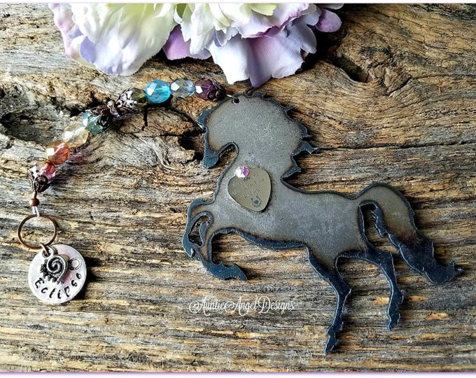 Featured listing image: Rainbow Bridge horse ornament, personalized horse sympathy gift, horse memorial ornament, death of horse gift, gift for grieving horse mom