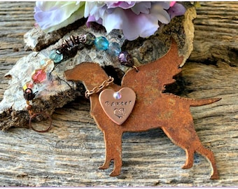 Rainbow Bridge hunting dog memorial, Rainbow Bridge labrador retriever angel, angel bird dog remembrance, duck hunter's dog ornament