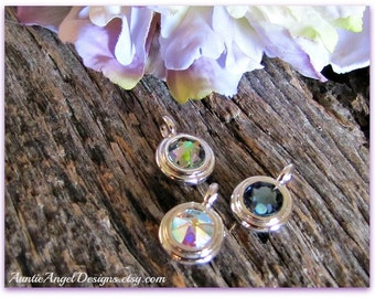 Add-on Swarovski crystal bezel charm to add to your jewelry design