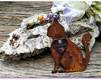 Rainbow Bridge Cat Ornament, Cat Memorial Gift, Cat Remembrance Gift, Rainbow Kitty Custom Gift, Loss of Cat, Death of Kitty, Cat Sympathy
