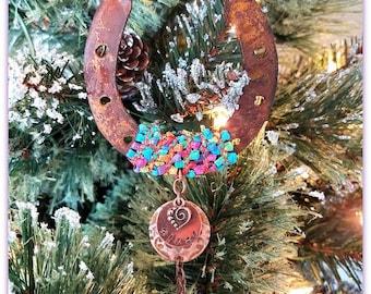 Rainbow Bridge Horse Ornament, Custom Horseshoe Sympathy, Horse Memorial, Horse Remembrance, Death of Horse, Horse Loss, Horse Sympathy Gift