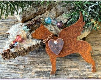 Pit bull at Rainbow Bridge, pit bull angel ornament, angel pit bull gift, pit bull sympathy, loss of pit bull, pit bull mom memorial gift