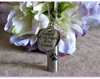 Paw Prints in heaven cremation urn, urns for pet cremains, loss of pet memorial urn, pet ashes jewelry, dog urn, dog ashes holder, cat urn