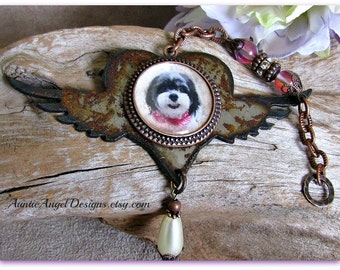 Winged Heart Pet Sympathy Photo Gift; Photo Memory Pet Angel Wings Ornament, Rusted Metal Memorial Gift; Pet Photo Keepsakes; Dog Angel