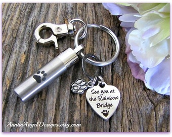 Rainbow Bridge Paw Print Urn Keychain, Pet Urn Keychain, Custom Pet Urn, Rainbow Bridge Urn, Keychain Urn Clip for Men, Dog Urn, Cat Urn