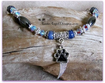 Pet Angel Wing Bracelet; Angel Pet Sympathy Jewelry; Angel Paw Print Pet Tribute Bracelet; Dog Angel Wing Gift; Cat Angel Jewelry; Pet Angel