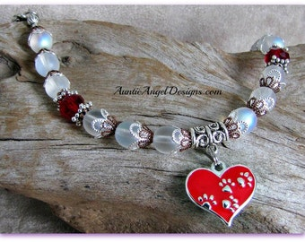 Paw Prints in Heart Pet Lover Bracelet; Valentine's Day Paw Print Bracelet; Red Paw Print Jewelry; Dog and Cat Pawprint Jewelry; Pet Love